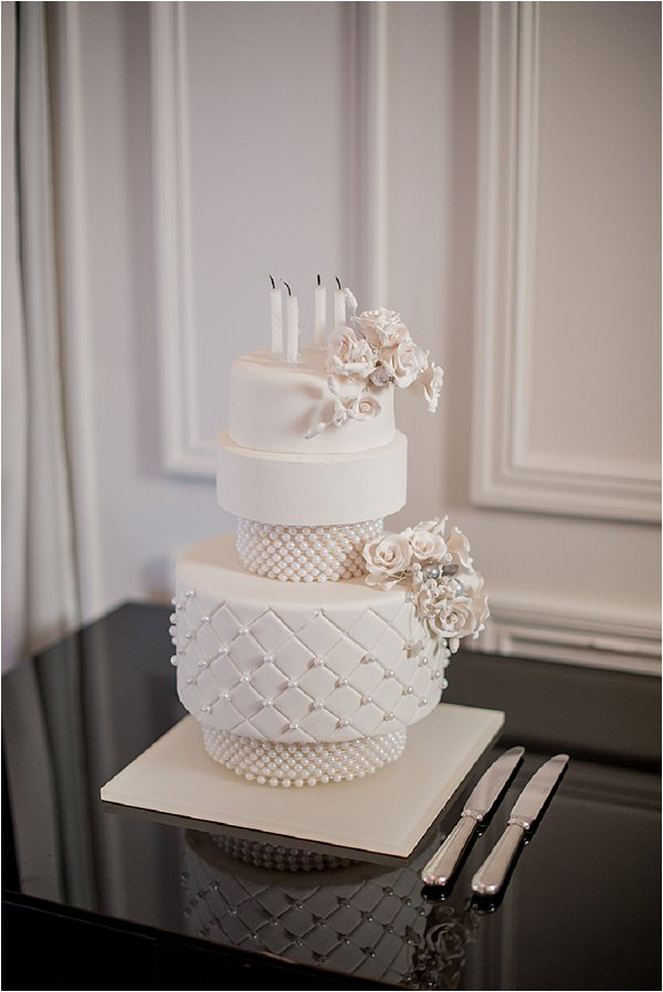 Stunning white tiered wedding cake