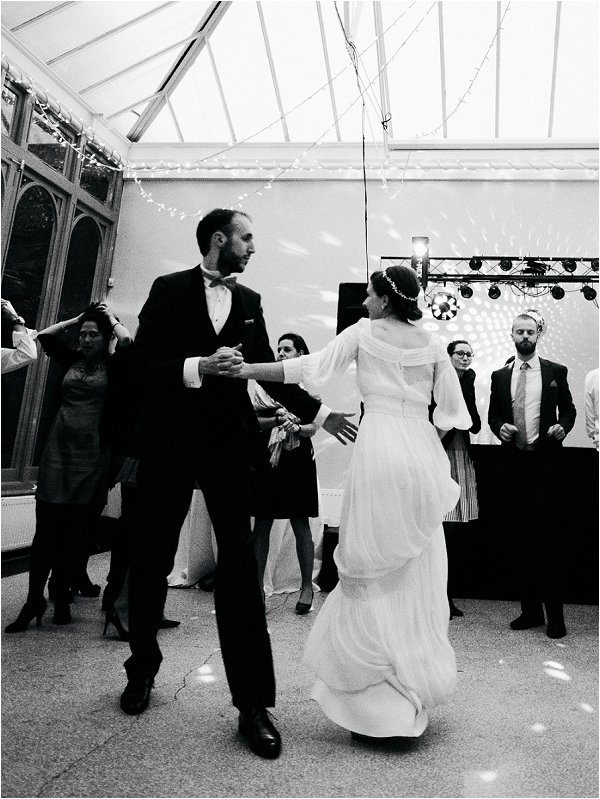 The bride and groom take a turn on the dance floor