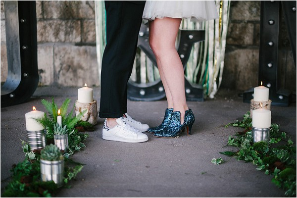 blue silver wedding boots