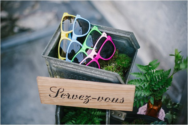 fun sunglasses at wedding
