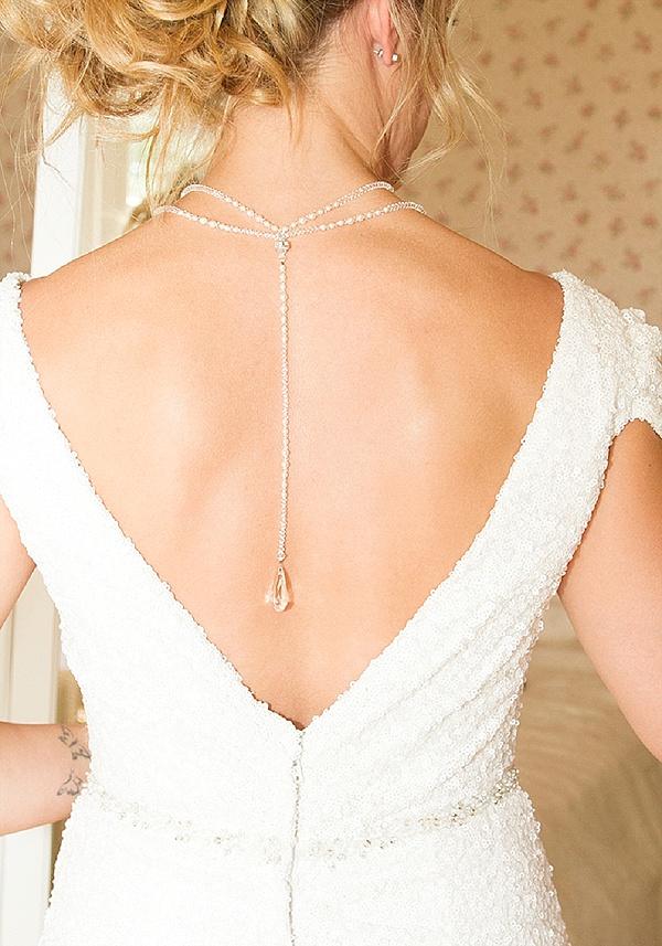low cut back wedding dress