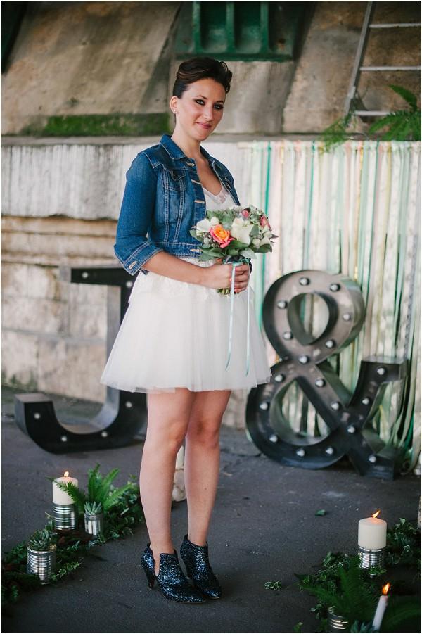 short wedding dress and denim jacket