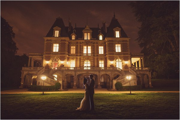wedding chateau at night