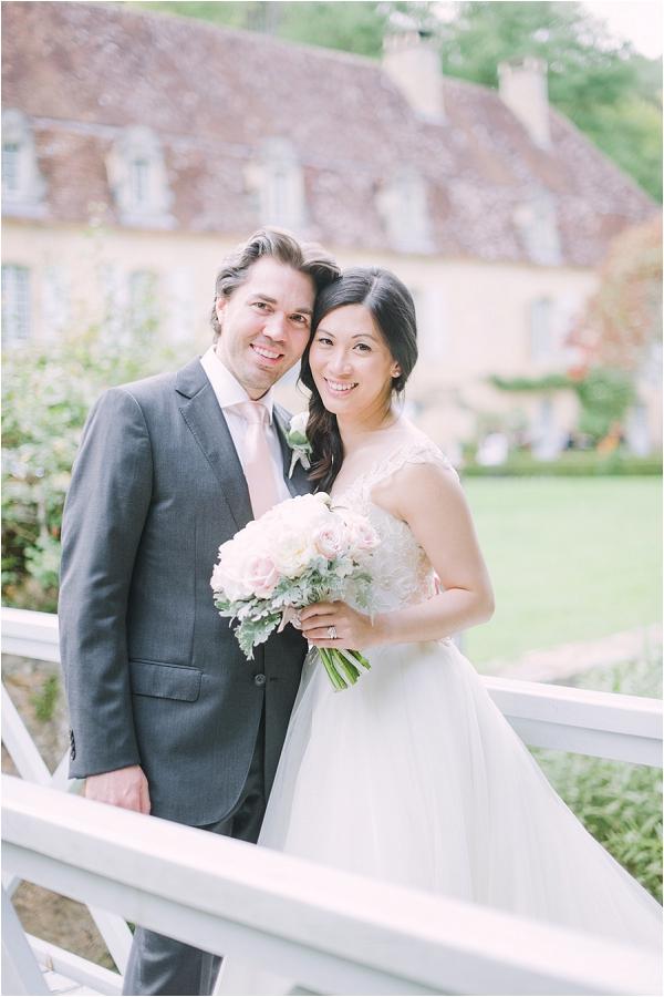 Bride and groom elegant French wedding