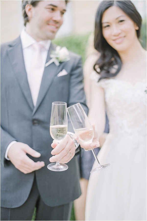 Champagne French wedding reception