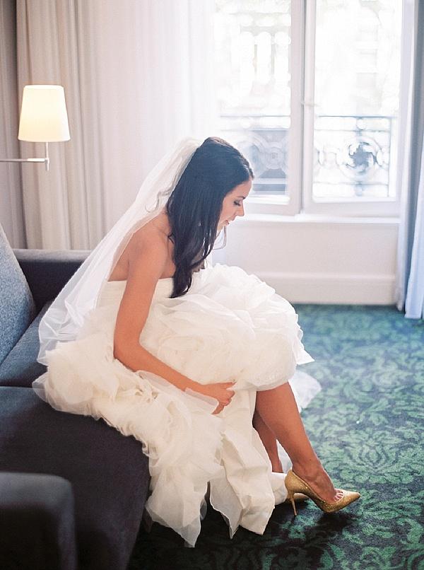 Elegant wedding gown for Paris wedding