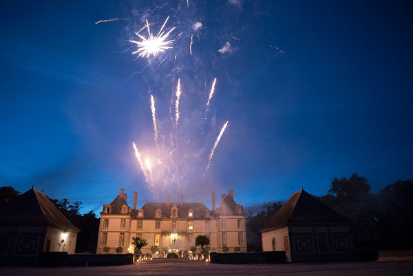 Evening wedding fireworks Chateau