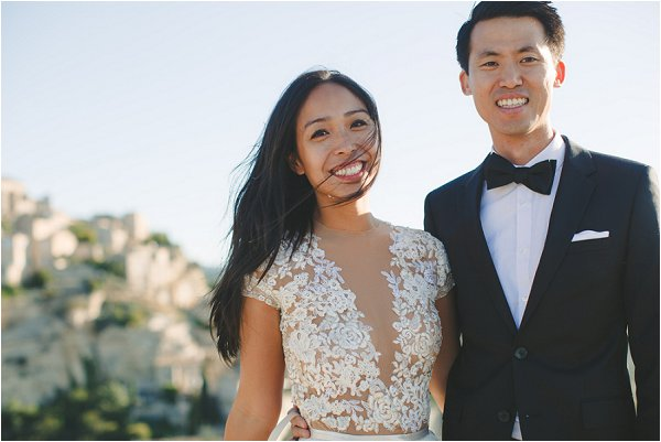 Happy couple and stunning dress details