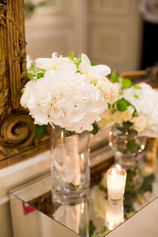 Hydreangea wedding flower centerpiece