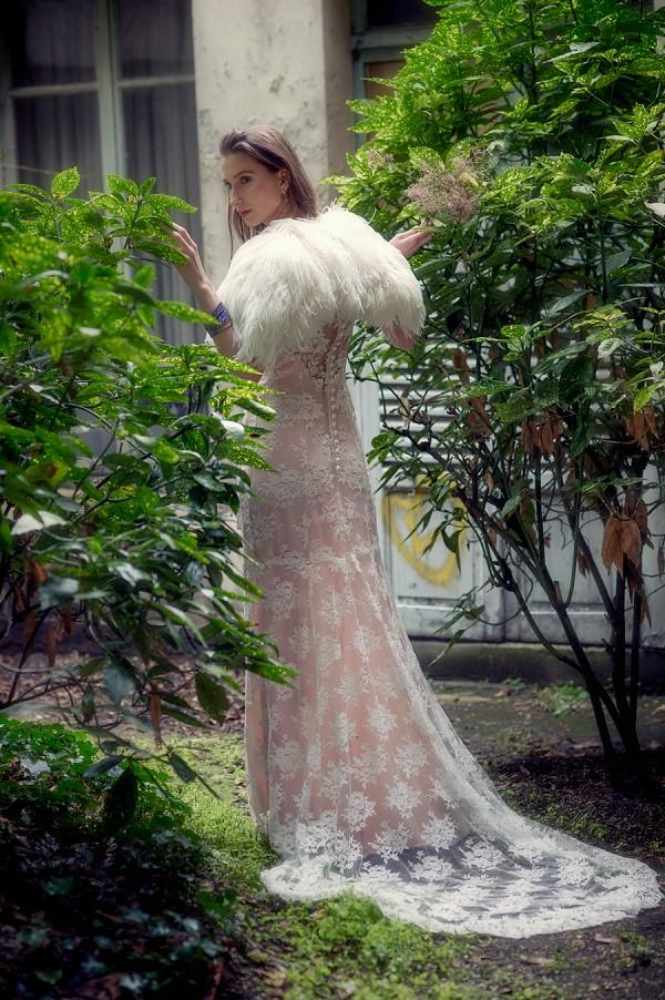 Lace train wedding dress