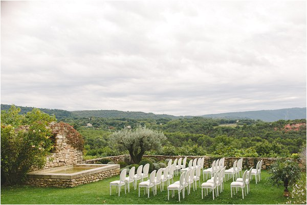 Outdoor ceremony set up in Provence
