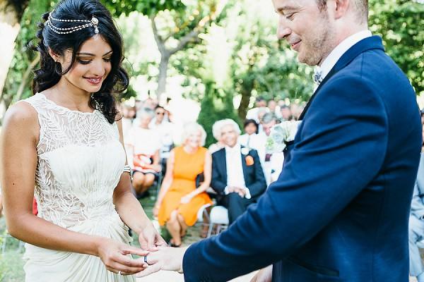 Outdoor wedding ceremony with Hindu vows