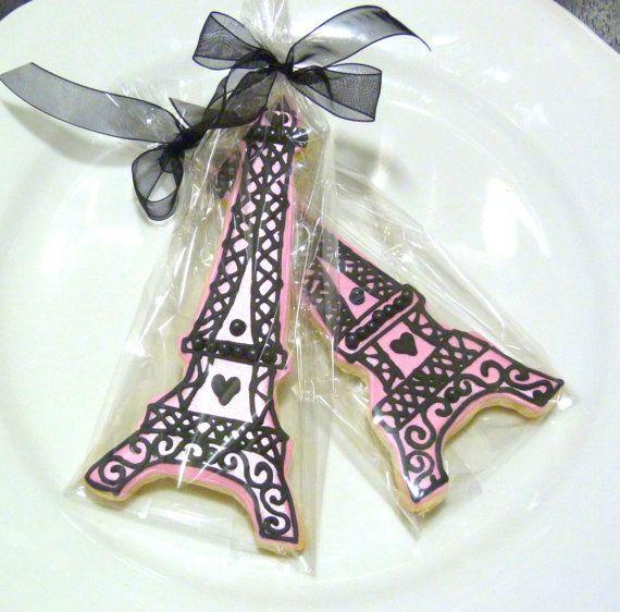 Paris themed favors - Gourmet Eiffel Tower Sugar Cookie
