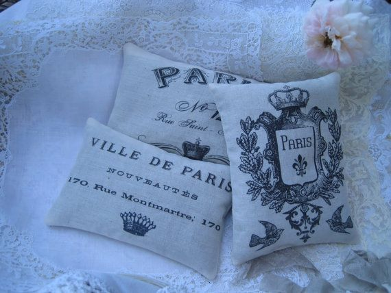 Paris themed favors - lavender sachets