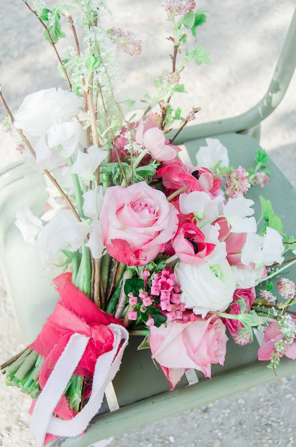 Pink, green and white bridal bouquet