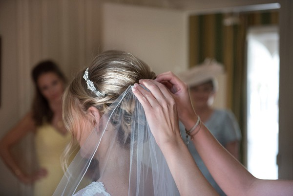 Pretty wedding updo with headdress