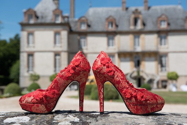 Red and gold unique wedding shoes