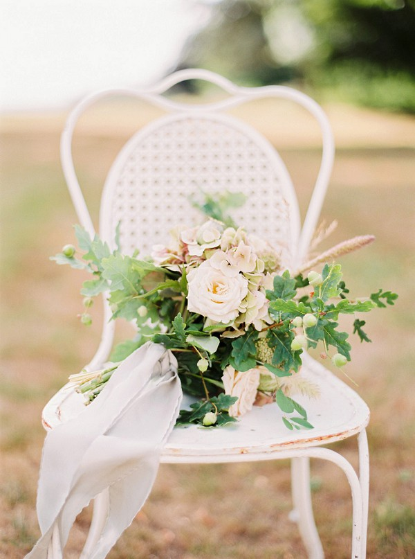 Rustic wedding bouquet with ribbon