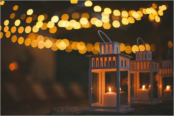 Simple white lanterns at DIY French Wedding