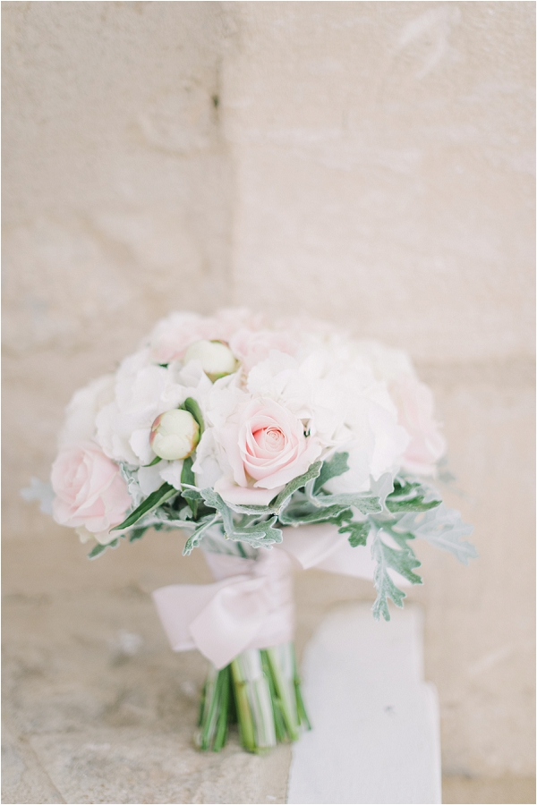 beautiful pink and grey bridal bouquet