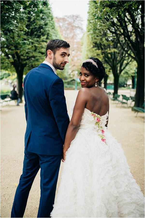 floral detail on back of Dior inspired wedding dress