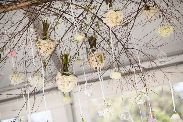 hanging white wedding bouquets