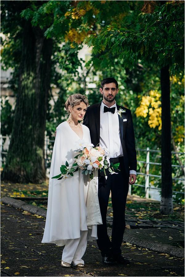 long cape bridal trouser suit