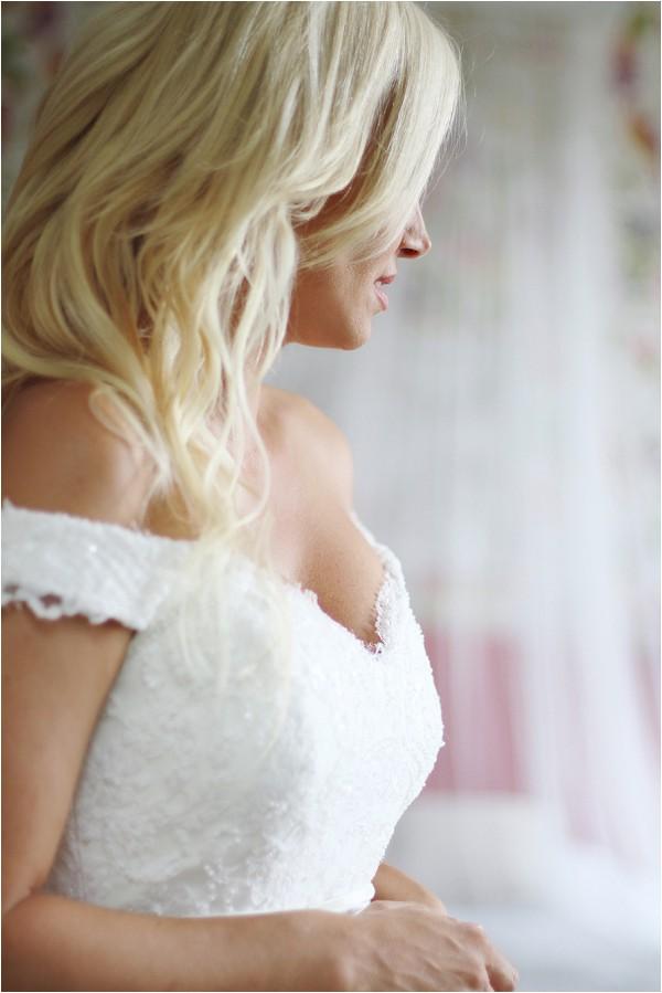 off the shoulder Rosa Clara wedding dress