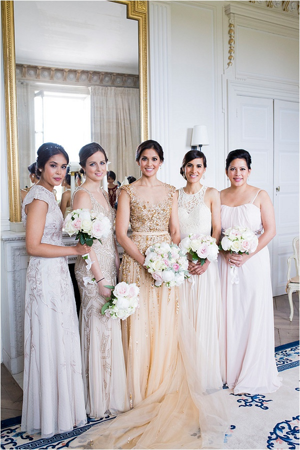 pastel and metalic bridesmaid dresses
