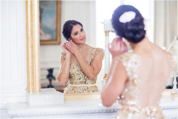 sheer back gold wedding dress