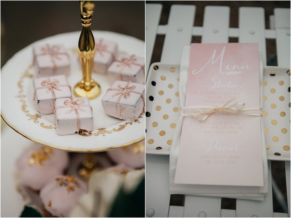 soft pink, gold , black and white wedding style