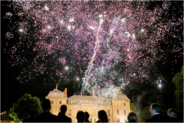 wedding fireworks at French Chateau