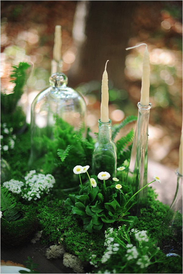 Romantic Woodland wedding centerpieces