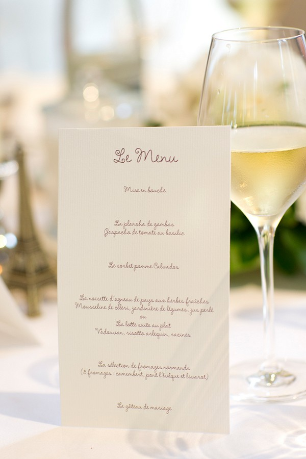 Elegant Wedding Menu