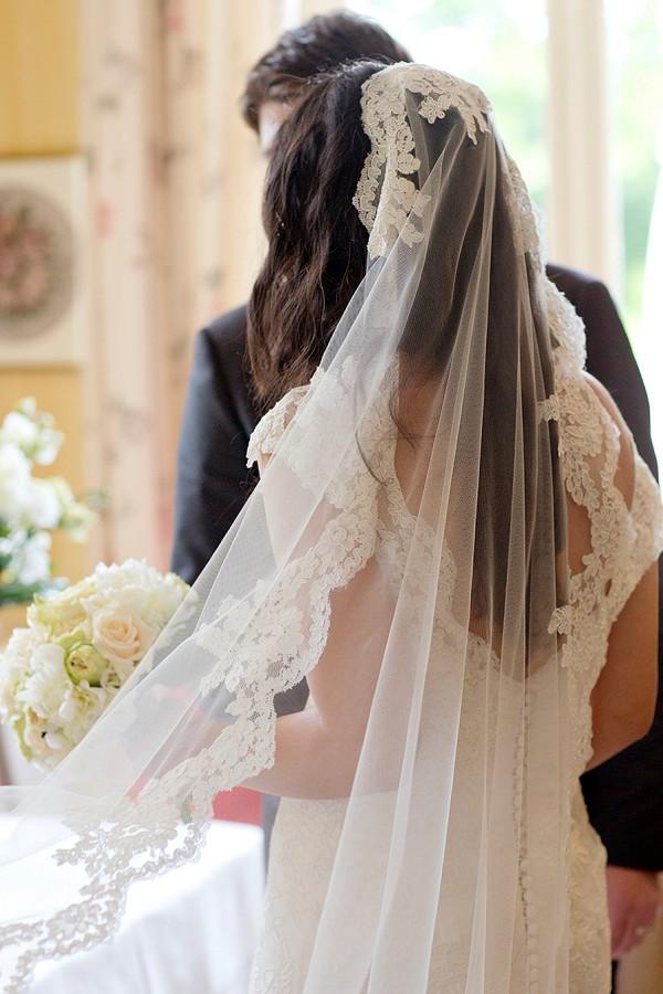 Lace edged wedding veil