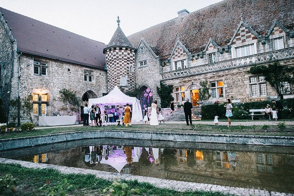 Outdoor evening reception wedding venue France