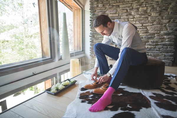 Pink socks groom