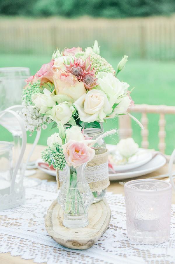 Rustic wedding flower jars