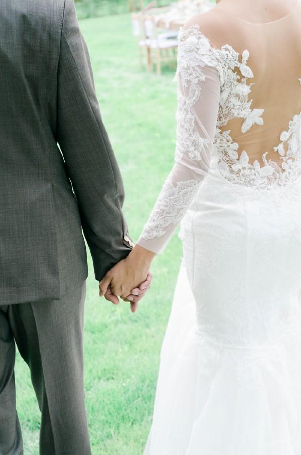 Shear back wedding gown