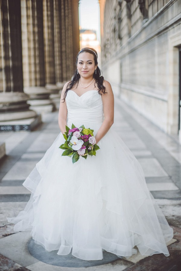 Strapless wedding gown by Blue Bridal