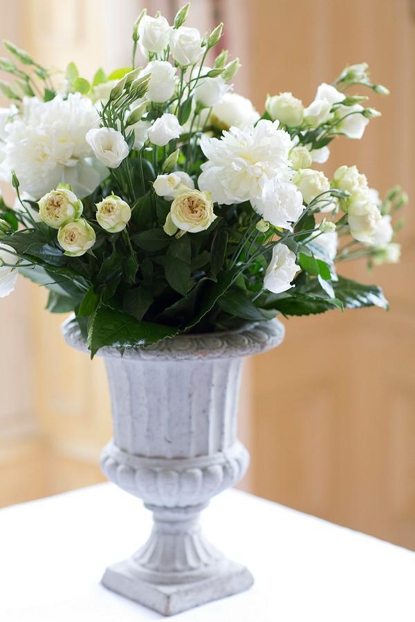 White, cream and green wedding flowers