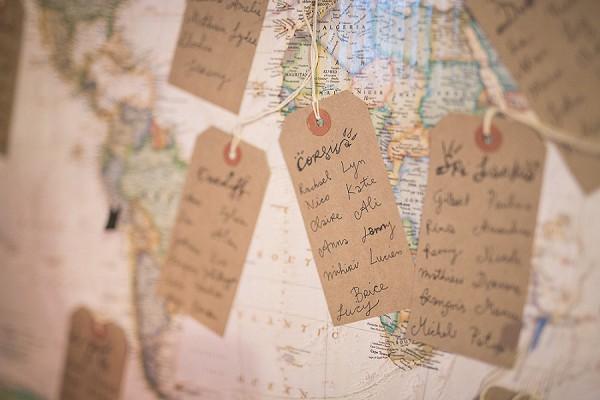 World map table plan wedding