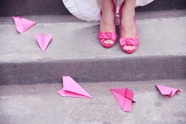 bright pink bridal shoes