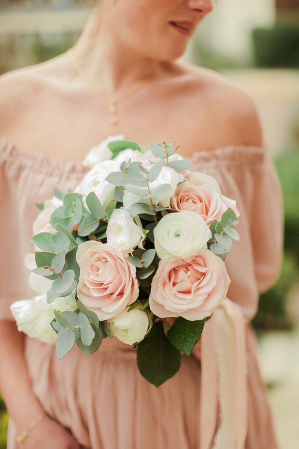 eucalyptus and rose bridal bouquet