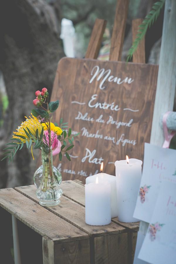 Boho wedding menu ideas