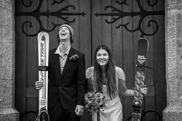 Chamonix skiing wedding