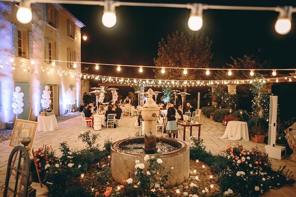 Festoon lighting wedding party