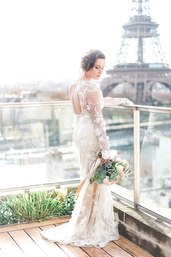 Fitted lace wedding gown for Shangri-La Paris Wedding Inspiration