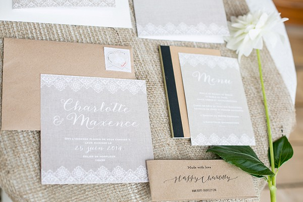 French inspired natural wedding stationary