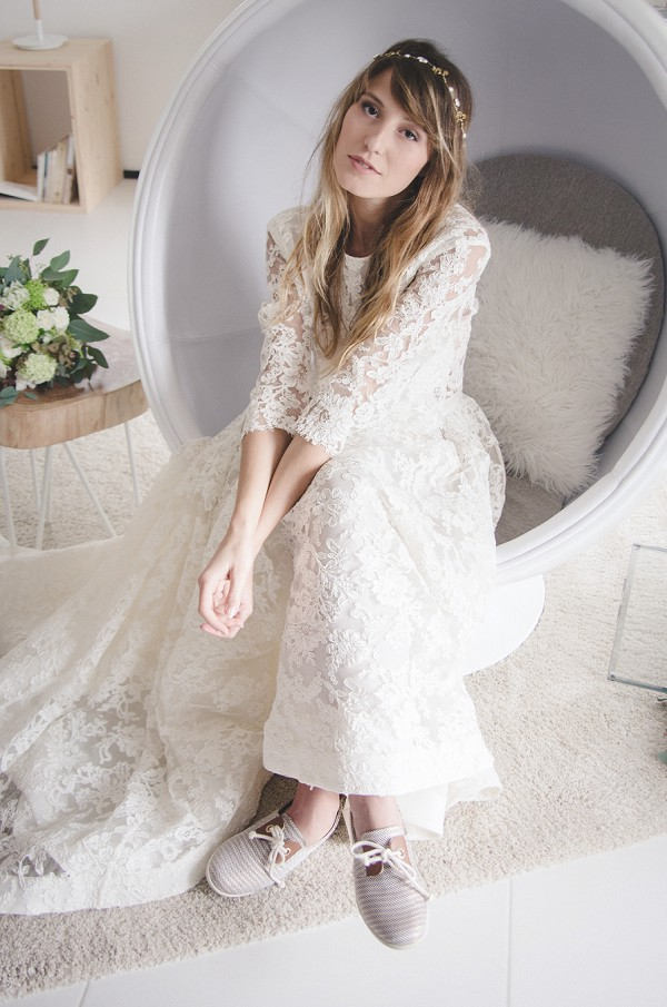 Long train lace wedding gown